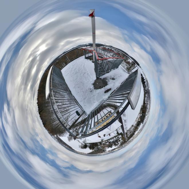 Erzgebirges Little Planet im Winter
