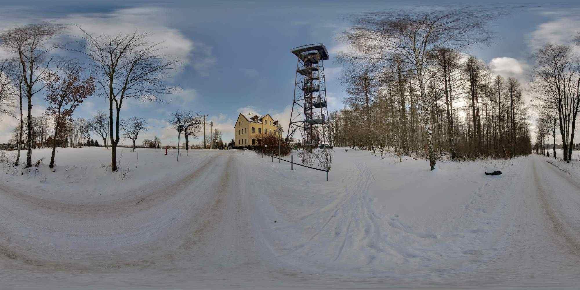 Winterpanoramen mit weihnachtlicher Musik und Schneefall 1